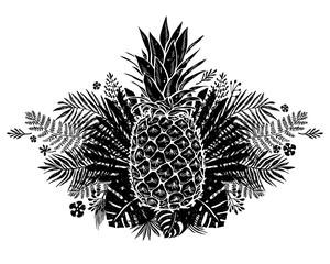 Image of black and white pineapple fruit lettering exotic on background. Vector illustration, design element for congratulation cards, t-shirt, print, banners and others
