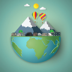Fotobehang Blauw Houses, colorful hot airi balloons and mountain on hemisphere green world as business, nature, eco and love earth day concept. vector illustration of paper art and craft style.