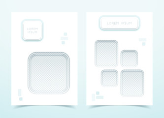 Vector White Square 3d Portrait Page Template