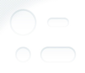 Vector 3d Blank White Paper Cut Out Circle Shapes Set