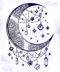 Ornate crescent moon with gemstone pendants, stars