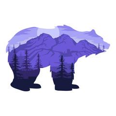 Double exposure bear. Landscape bear in double exposure. Vector artwork.