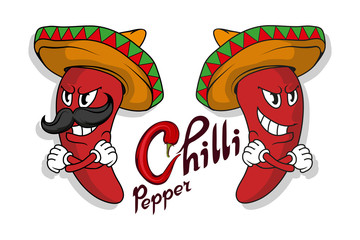 Set of Chili pepper. Hand Drawn Hot Pepper. Lettering of chili pepper. Vector artwork.