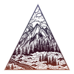 Triangle frame with landscape forest and mountains.