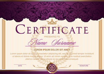 certificate horizontal in Royal style Vintage, Rococo, Baroque, glamour. Decorated with classic floral ornament, columns, flouris, crown.Dark purple with gold color