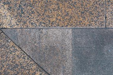 Close up dirty tiles floor pattern background, rough vintage tiles design texture, uneven retro shingle stripes