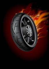 Wheel in flame, poster  mock up template. Realistic vector image.