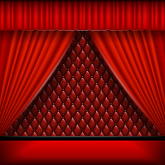 Vintage background with red curtains.  Mock up is ready to be converted to your business needs.  Realistic image