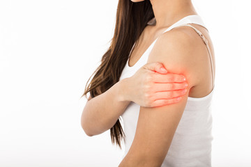 Woman have a Upper arm pain,Isolated on white background,Healthcare Concept