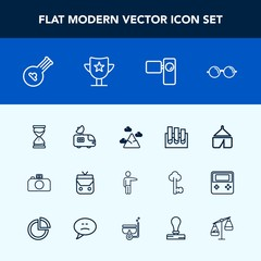 Modern, simple vector icon set with adventure, blue, tv, van, landscape, white, people, bag, string, sky, mountain, object, eye, showing, laboratory, analysis, tent, pointing, instrument, nature icons