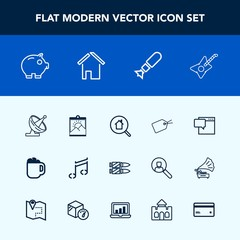 Modern, simple vector icon set with note, money, bullet, guitar, finance, bubble, mug, estate, falling, dish, communication, musical, photo, cafe, weapon, search, speech, blank, real, message icons