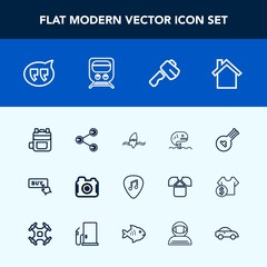 Modern, simple vector icon set with music, surfing, rucksack, seafood, technology, fish, message, button, bubble, construction, musical, screwdriver, train, folk, surf, sign, surfer, camera, web icons