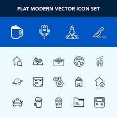 Modern, simple vector icon set with keyboard, coffee, person, surgery, road, laptop, online, tool, estate, home, development, work, search, laboratory, pin, drink, professional, space, medicine icons