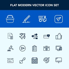 Modern, simple vector icon set with communication, concept, find, internet, food, summer, justice, lawyer, park, education, search, courthouse, legal, pencil, business, list, coin, travel, mark icons