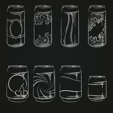 Aluminum cans in different sizes with various labels