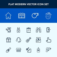 Modern, simple vector icon set with wheel, dirt, rocket, paper, house, internet, quad, architecture, sport, home, support, clothing, work, space, referee, estate, transport, music, call, object icons