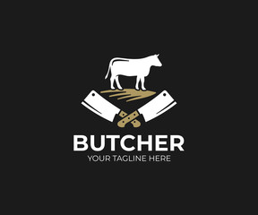 Butcher shop logo template. Cow and meat cleaver knife vector design. Butchery logotype