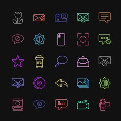 Modern Simple Colorful Set of chat and messenger, video, photos, email Vector outline Icons. Contains such Icons as camera,  transparent and more on dark background. Fully Editable. Pixel Perfect