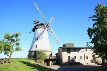 The historic windmill in Lechtingen near Bramsche in Osnabruecker Land, Lower Saxony, Germany