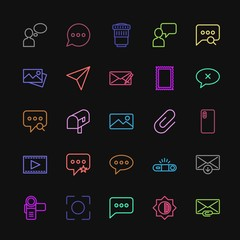 Modern Simple Colorful Set of chat and messenger, video, photos, email Vector outline Icons. Contains such Icons as  hand,  lens,  email and more on dark background. Fully Editable. Pixel Perfect