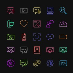 Modern Simple Colorful Set of chat and messenger, video, photos, email Vector outline Icons. Contains such Icons as  messaging,  film, chat and more on dark background. Fully Editable. Pixel Perfect