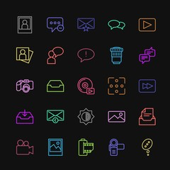 Modern Simple Colorful Set of chat and messenger, video, photos, email Vector outline Icons. Contains such Icons as  adult, portrait,  photo and more on dark background. Fully Editable. Pixel Perfect