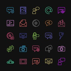 Modern Simple Colorful Set of chat and messenger, video, photos, email Vector outline Icons. Contains such Icons as  problem, people,  alert and more on dark background. Fully Editable. Pixel Perfect