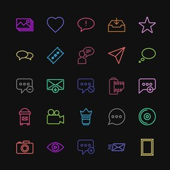 Modern Simple Colorful Set of chat and messenger, video, photos, email Vector outline Icons. Contains such Icons as favorite,  cd,  sms, exit and more on dark background. Fully Editable. Pixel Perfect