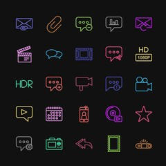 Modern Simple Colorful Set of chat and messenger, video, photos, email Vector outline Icons. Contains such Icons as  cellphone,  mail, player and more on dark background. Fully Editable. Pixel Perfect
