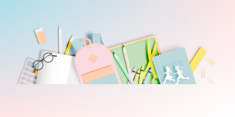 Various stationery for back to school in paper art style with pastel color