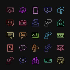 Modern Simple Colorful Set of chat and messenger, video, photos, email Vector outline Icons. Contains such Icons as  stamp,  background,  faq and more on dark background. Fully Editable. Pixel Perfect