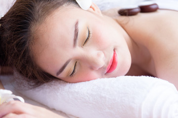 Portrait of duo beautiful asian people with close up view and close up eyes. Beauty, healthy, spa and relaxation concept.