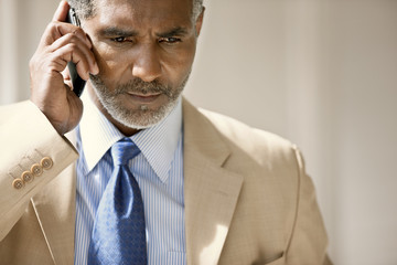 Serious mid-adult businessman talking on his cell phone.