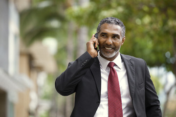 Smiling businessman talking on a cell phone.