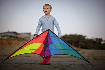Young boy playing with a kite on a beach.