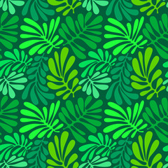 Background with palm leaves. Tropical seamless pattern with monstera plant. Vector illustration