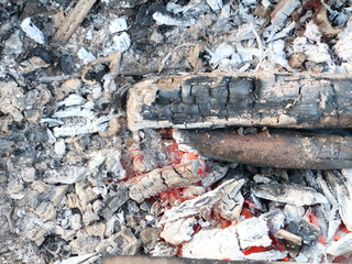 bonfire with smoldering coals