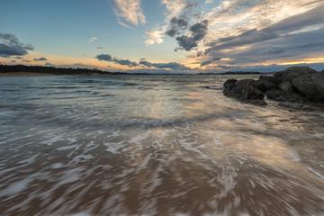 Sunset in the Loredo Beach. Cantabria. Spain.