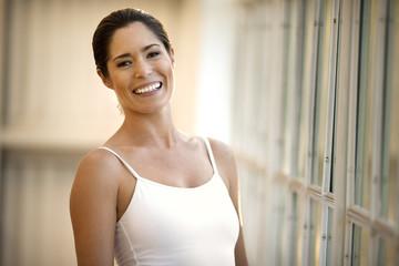 Portrait of a smiling ballerina.