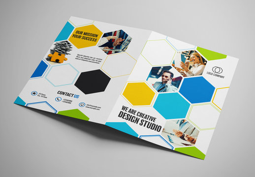Business Brochure Layout with Hexagon Elements