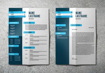 Resume Set with Dark Blue Sidebar