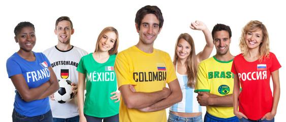 Kolumbianischer Fussball Fan und andere Fans