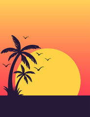 Summer tropical sunset poster with palm trees