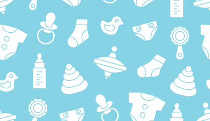 Seamless pattern with baby things. isolated on blue background