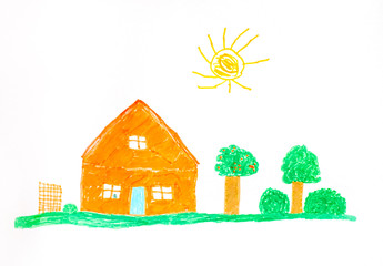 Child hand drawing. Orange house, fruit trees, green grass and sun.