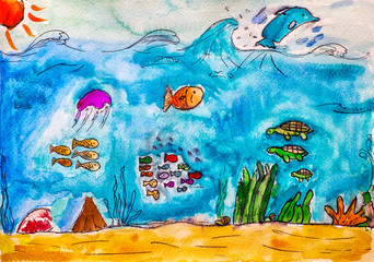 Sea life. Child watercolour hand drawing.