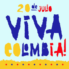 Flat fiestas patrias design card with text Viva Colombia in national state flag colors Vintage grunge torn paper style.