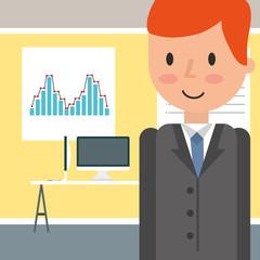 businessman portrait cartoon in the office desk pc vector illustration