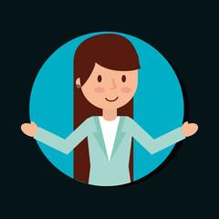 business woman cartoon character female vector illustration