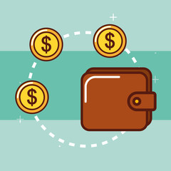 wallet money coins currency safe vector illustration
